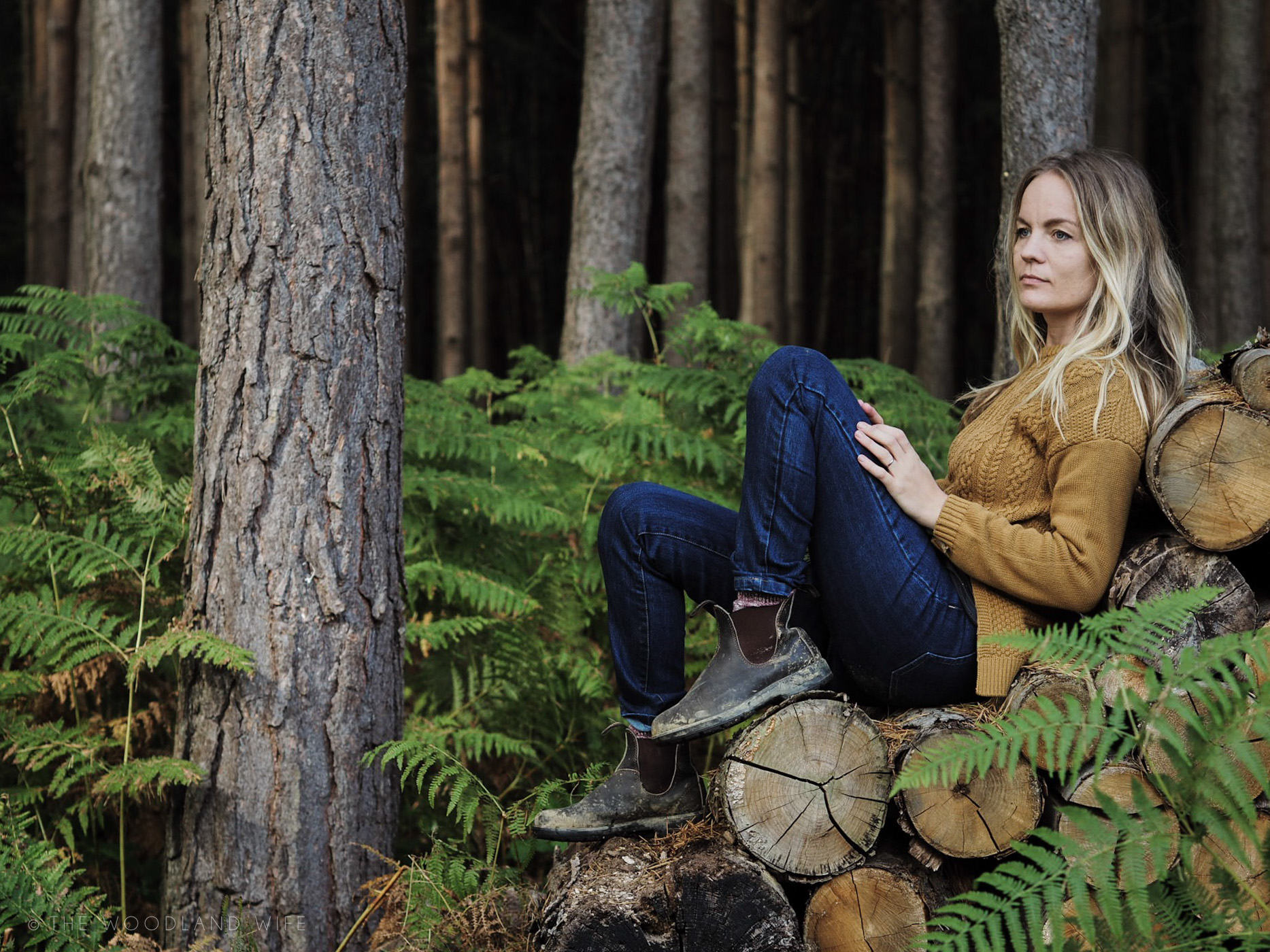The Woodland Wife - Thought Clothing - Ethical - AW17 - Mustard Cable Knit Jumper and Jeans
