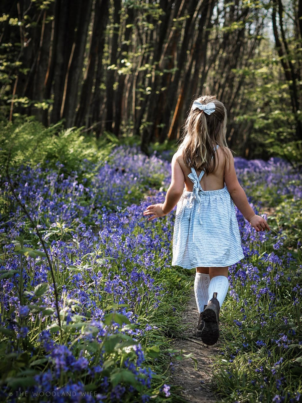 The Woodland Wife - Kent Bluebell Woods - Nellie Quats Linen Pinafore - Bluebells - Blue Haze