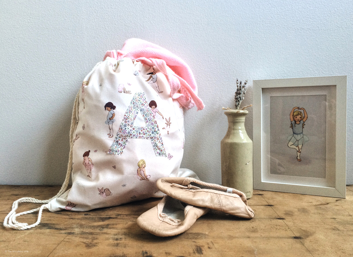 Drawstring Ballet Bag made with Belle and Boo Ballet Fabric