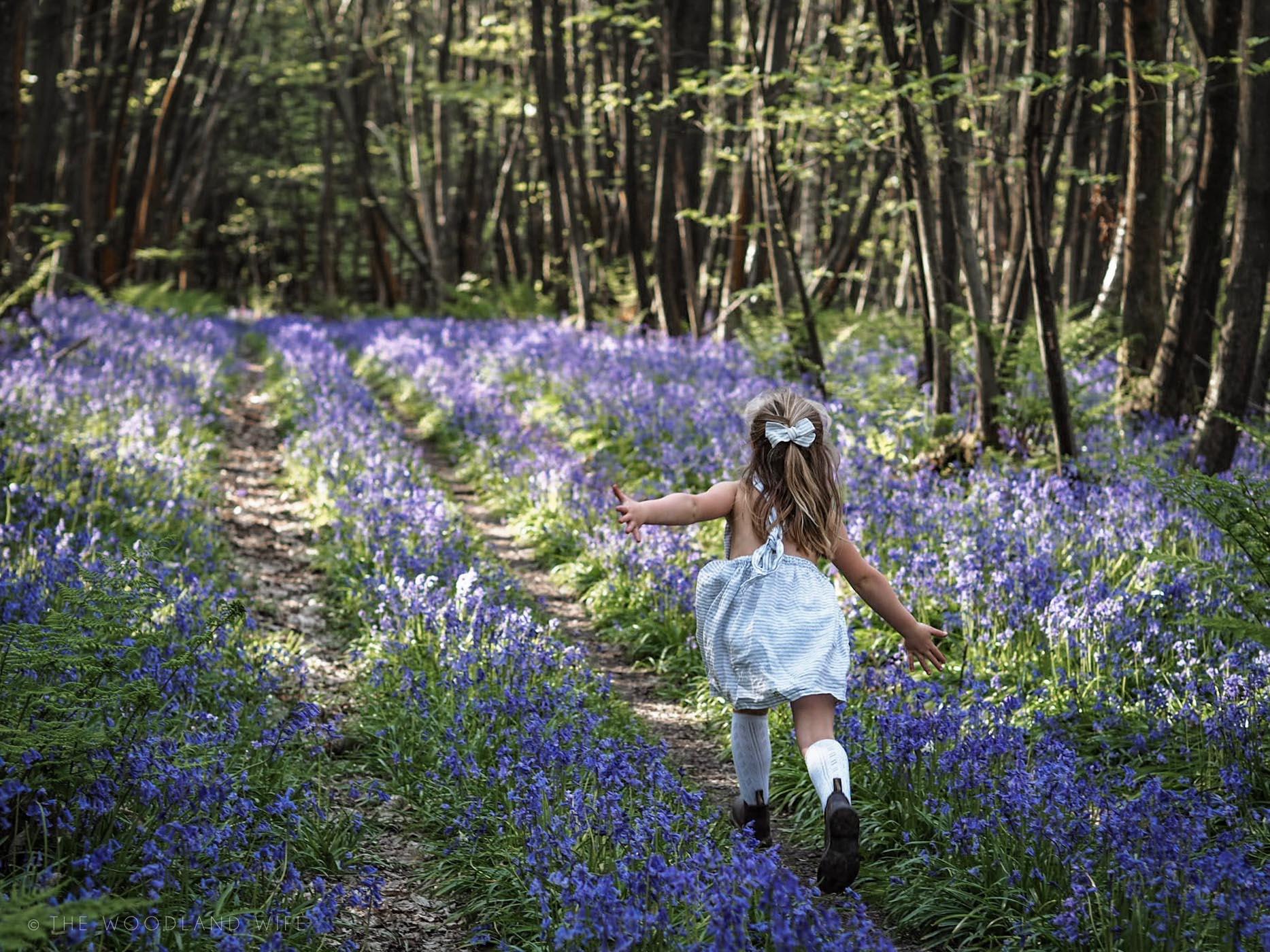 The Woodland Wife - Kent Bluebell Woods - Nellie Quats Linen Pinafore - Bluebells - Blue Haze