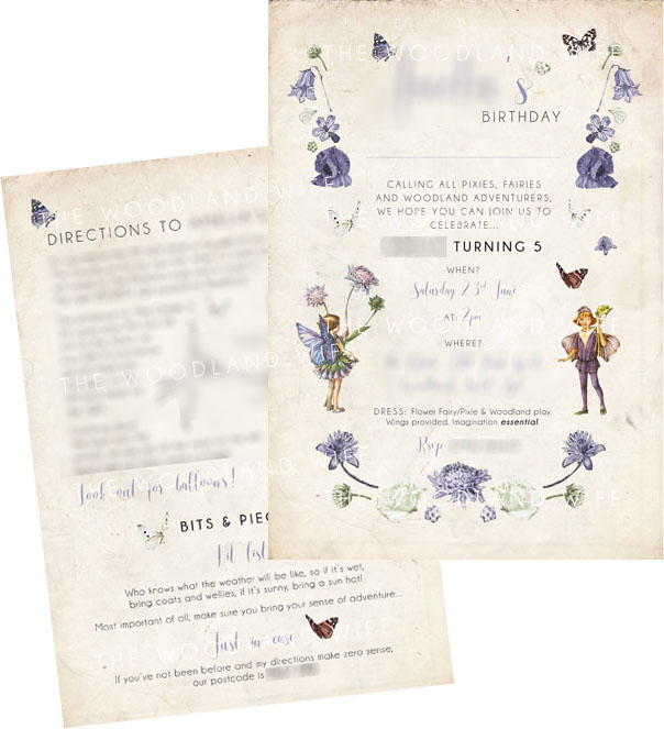 Flower Fairy invitation - Designed by Jessica Cresswell - The Woodland Wife